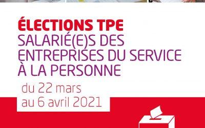 Elections TPE, salarié(e)s des Entreprises du service à la personne, du 22 mars au 6 avril, mon vote, c'est ma FOrce